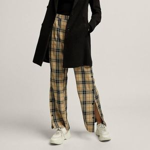 Stradivarius Check Snap Side Trousers